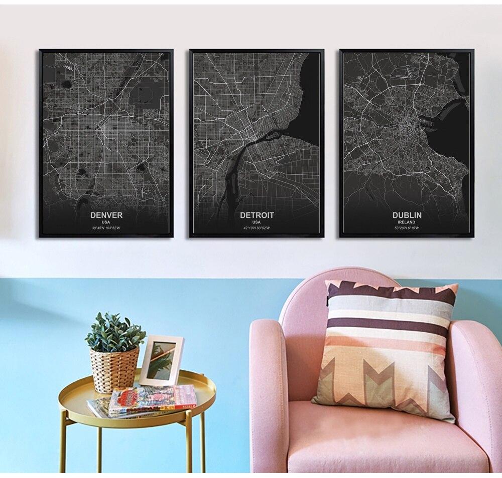 Póster sobre lienzo con impresiones de arte en lienzo de Denver Detroit, London, Edmonton, imagen de pared para niños, decoración para sala de estar