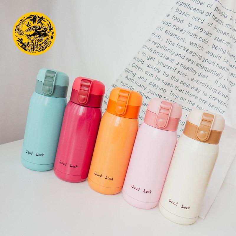 Taza de acero inoxidable Goodluck creativa femenina portátil de vacío taza recta Linda taza de Estudiantes Coreanos