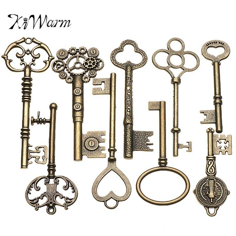KiWarm 9 STÜCKE Große Antike Vintage alte Messing Skelett Schlüssel Lot Schrank Zylinderschloss Halskette Anhänger Decor DIY Jewerly Handwerk