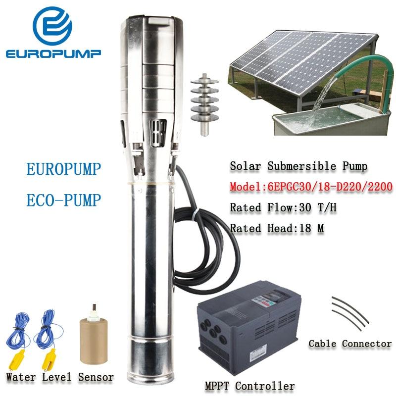 """EUROPUMP 6Inch 3HP outlet 3"""" Lift 18M Flow 30000LPH High Speed Solar Water with Pump MPPT controller MODEL(6EPGC30/18-D220/2200)"""