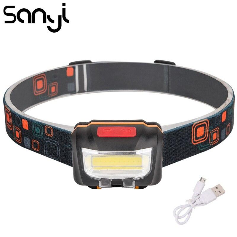 SANYI Mini USB Перезаряжаемый COB светодиодный налобный фонарь для тела, индукционный фонарь для велосипеда, лампа для кемпинга на открытом воздухе с usb-кабелем для зарядки