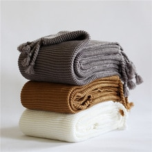50*60Inch Effen Kleur Thuis Auto Airconditioning Gebreide Gooi Dekens Voor Bedden Knit Plaids Sprei Bed Sofa Cover manta Para Sofa