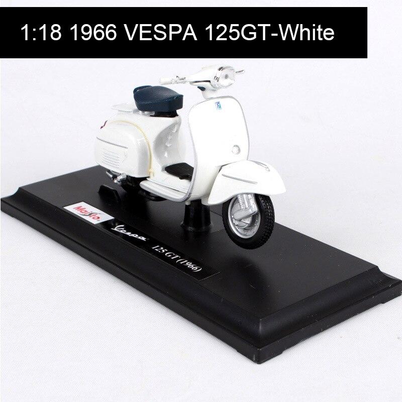 Maisto 118, modelos de motos, VESPA lentegio 1966 VESPA 125GT, modelo de bicicleta, Base de Moto a presión, juguete para niños para colección de regalos