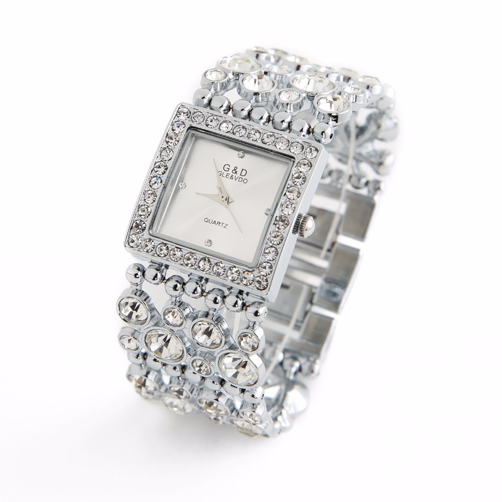 2018 G&D Luxury Brand Women's Bracelet Watches Diamond Silver Ladies Dress Watch Quartz Wristwatches relogio feminino Clock Gift enlarge