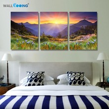 3 Stuk Doek Olieverf Frames Goedkope Modulaire Foto Instelling Spray Lavendel Schilderijen Cuadros Mountain Home Decor