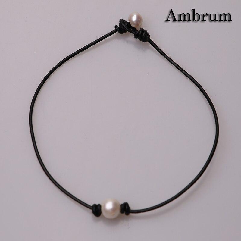 """Perla blanca hecha a mano collar, Gargantilla negra de cuero collar 14 """"/16""""/18 para las mujeres joyas de cuello"""