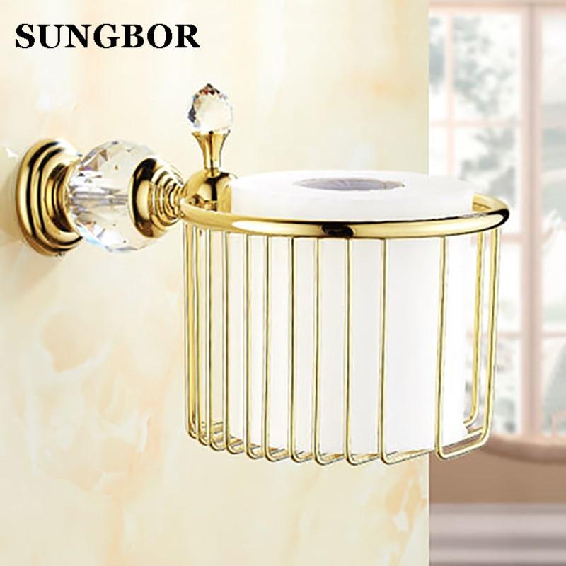 Soporte de latón dorado y cristal de estilo europeo para toallas de papel, cesta de papel higiénico, accesorios para SH-99907K de baño