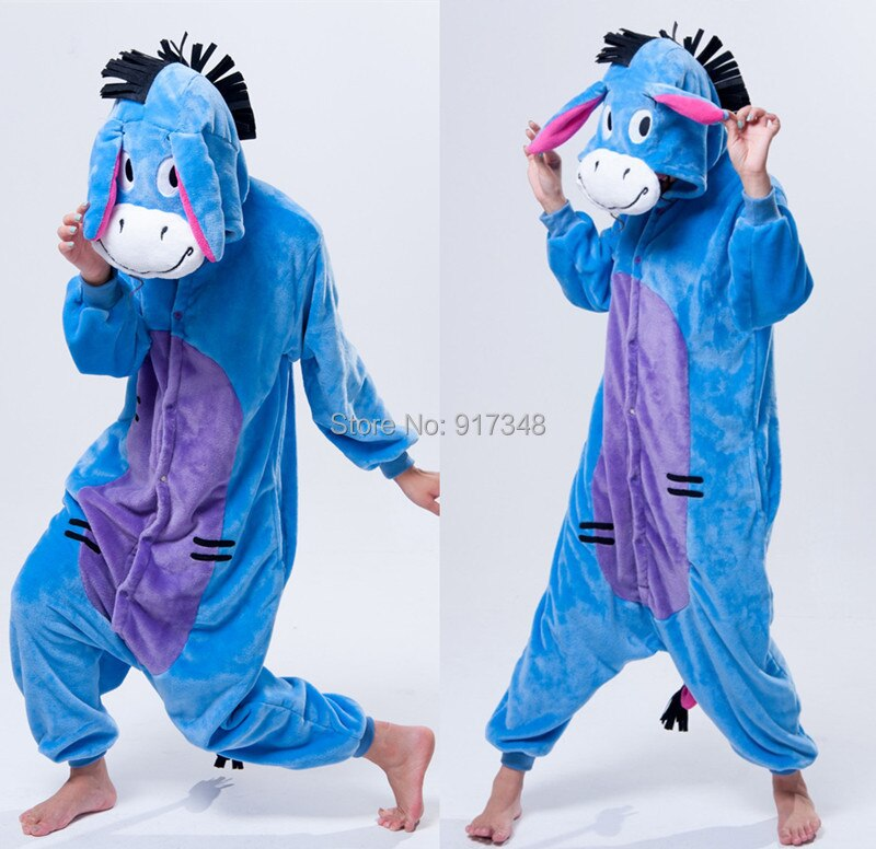 Animal dos desenhos animados cosplay kigurumi eeyore burro onesies pijamas macacão hoodies adultos cos traje para o dia das bruxas e carnaval