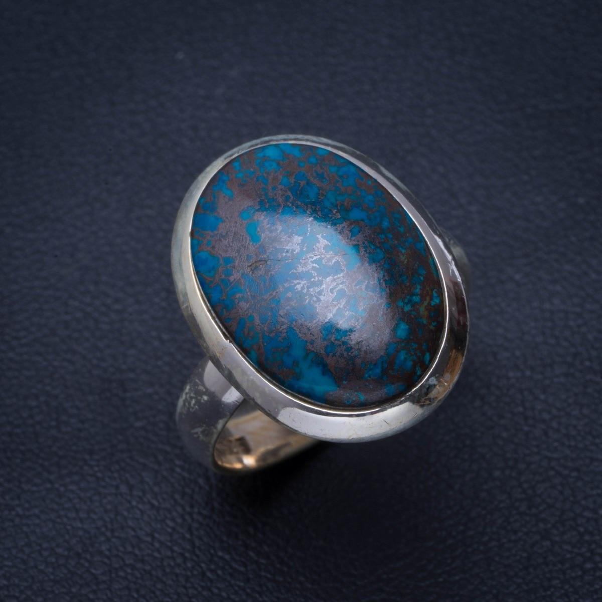 Crisocola Natural hecho a mano único 925 anillo de plata esterlina 7,75 B1427