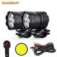 Universal 8000Lm/set White Yellow Led Motorcycle Headlight +Switch fit SUV Motorbike Spotlight Head bulb 12V DIY Fog Lights