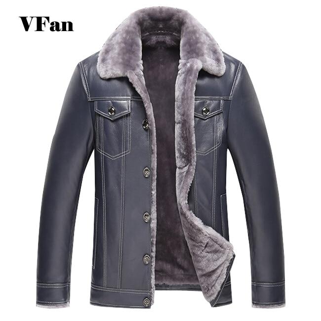De moda de cuero de los hombres chaqueta de invierno cálido 2016 diseño de marca de piel espesar giro-abajo Collar de chaqueta de cuero de Z2025-Euro