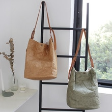 NEW Women Kraft Paper Bucket Bag Vintage Big Capacity Shoulder Bags Casual Tote Handbags Travel Shopping Crossbody Pack Mujer