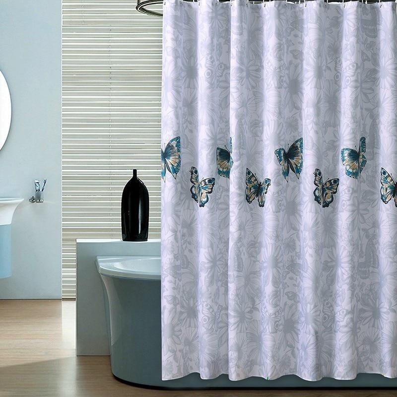 Diseño de mariposa, cortina de ducha impermeable, cortina de baño de estampado grueso, cortina para bañera de poliéster a prueba de moho, cortina de baño