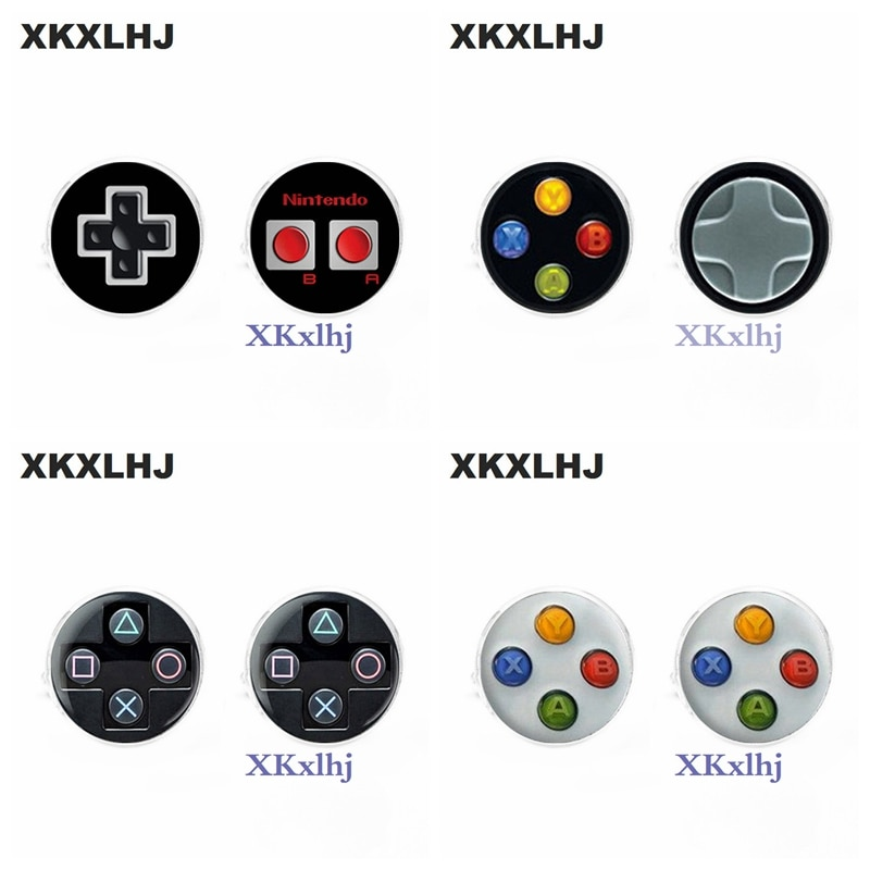 Xkxlhj 1 par nova moda masculina abotoaduras de alta qualidade jogo vídeo abotoaduras playstation abotoaduras de vidro redondo