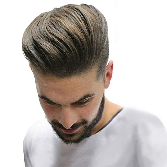 Durável e respirável pele + mono cabelo masculino peruca 100% remy cabelo humano peças real substituição do cabelo peruca para homens