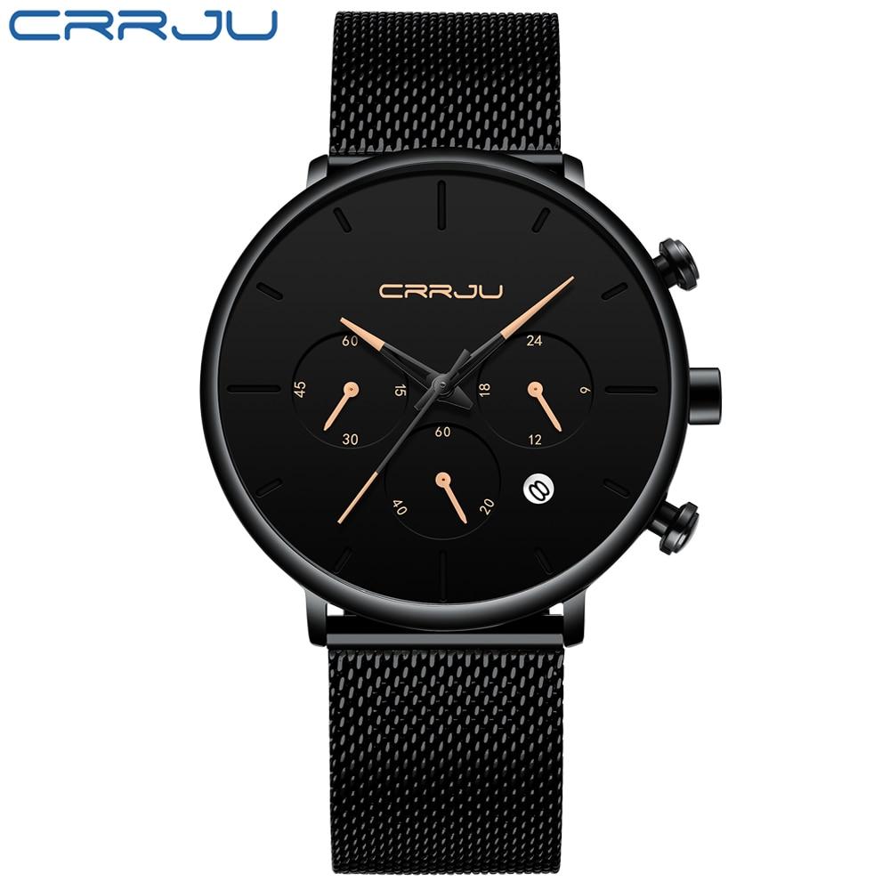 Relojes simples para hombre Rerkek kol saati CRRJU, relojes deportivos informales de lujo de la mejor marca, relojes con correa de acero y cuarzo con esfera negra para hombre