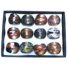 Vente en gros 12 pcs/lot mélange conçu anneaux de verre de peinture, série dorée de anneaux de Murano de Style classique