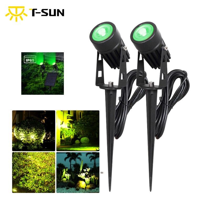 T-SUN, impermeable, IP65, jardín exterior, LED, Solar, verde, foco, superbrillo, lámpara de jardín para césped, decoración de paisaje, punto luminoso