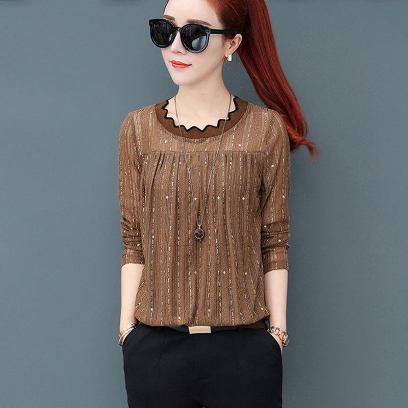 Mulheres Primavera Outono Estilo Lace Blusas Camisas Lady Casual O-long neck Sleeve Patchwork Blusas Tops DD2250