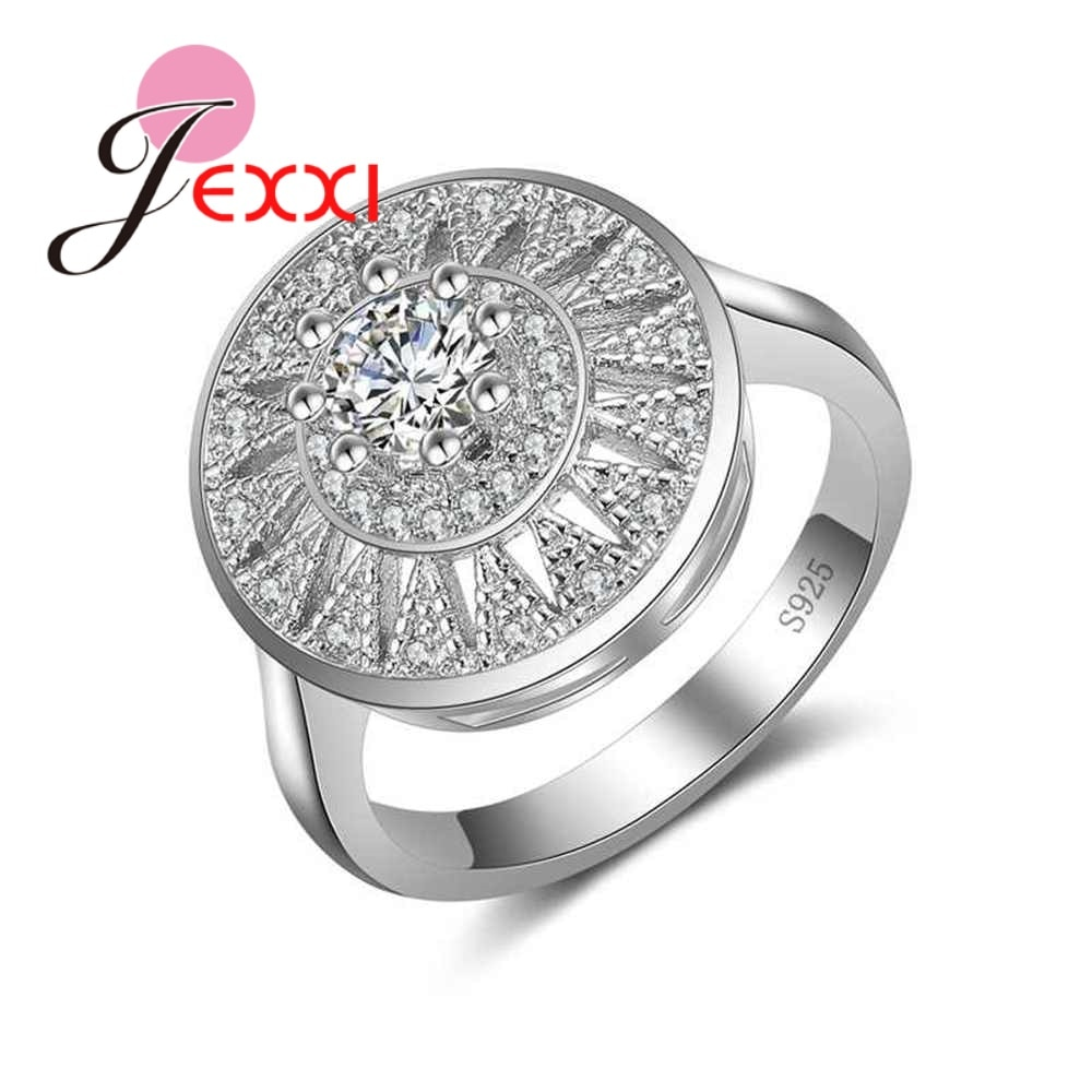 AliExpress - Lowest Price 925 Sterling Silver Jewelry Fashion Round Flower Crystal Ring for Women Female Wedding Party Accessories