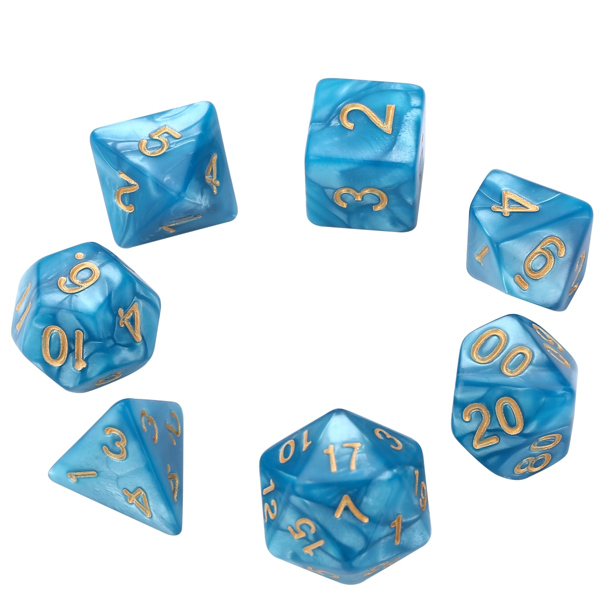 7 unids/set 16mm dados azules poliédricos estándar seis lados 20 lados para juego de dados RPG juego de dados de cumpleaños