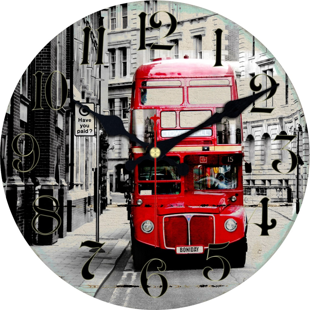 WONZOM Red Double-decker Bus Design Wall Clock For Home Decor, Wall Art Large Wall Watch, No Ticking