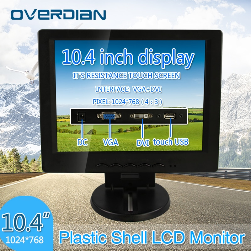 10.4 Polegada display lcd monitor vga/toque usb/dvi conector monitor 1024*768 tela do carro caixa registadora resistência tela de toque hd