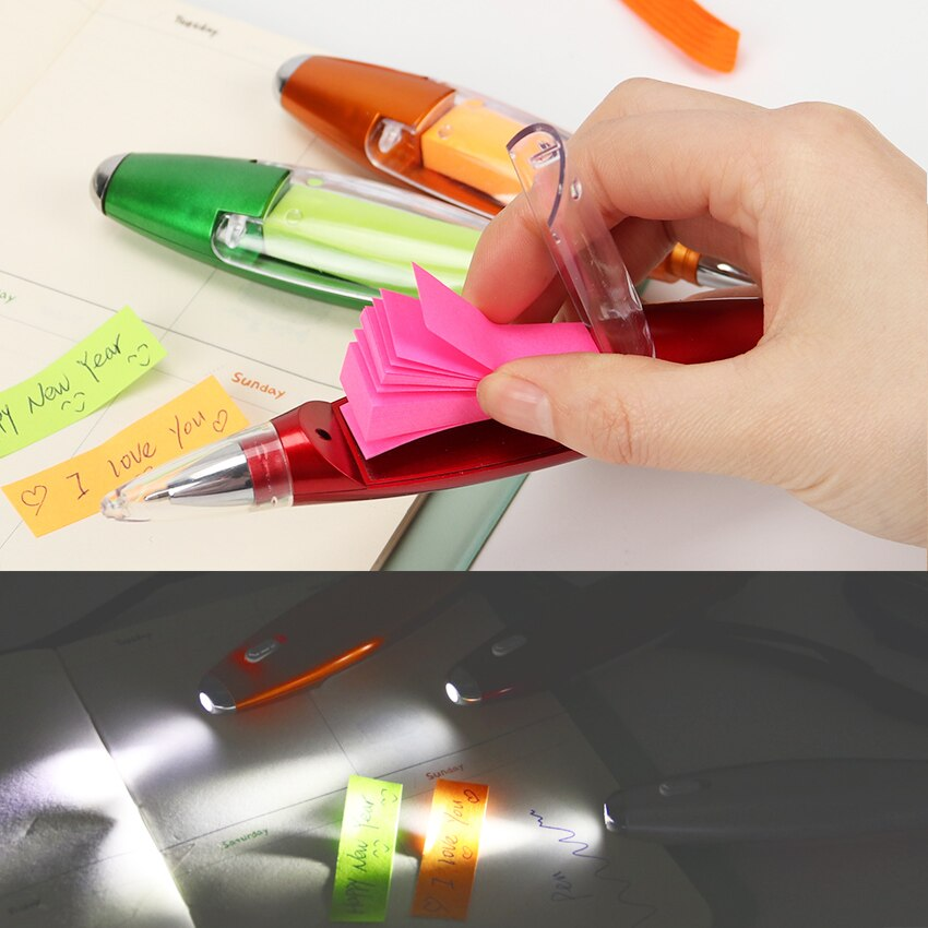 Cute Kawaii Plastic Ballpoint Pen Creative Light Ball Pen With Memo Pad Kids Gift Korean Stationery