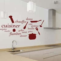 cuisiner tools in french wall vinyll sticker for kitchen creative decal for dinning room simple room decoration hot lw112