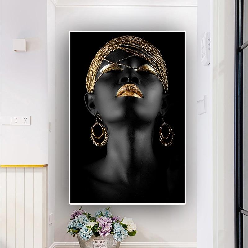 Pintura al óleo de mujer desnuda africana negra, pósteres e impresiones en lienzo, imagen artística de pared escandinava para sala de estar