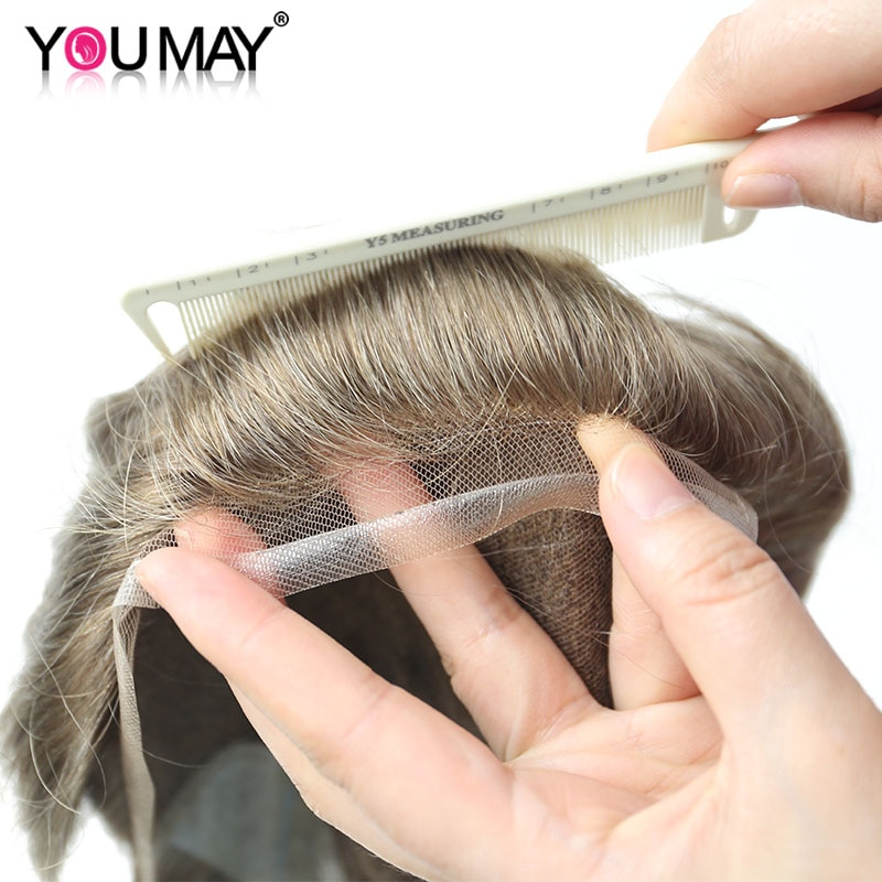 Men's Wig Hair Lace PU Base Color #17 Human Hair Replacement System Man Toupee Natural Bleached Knots Remy Men Wigs You May