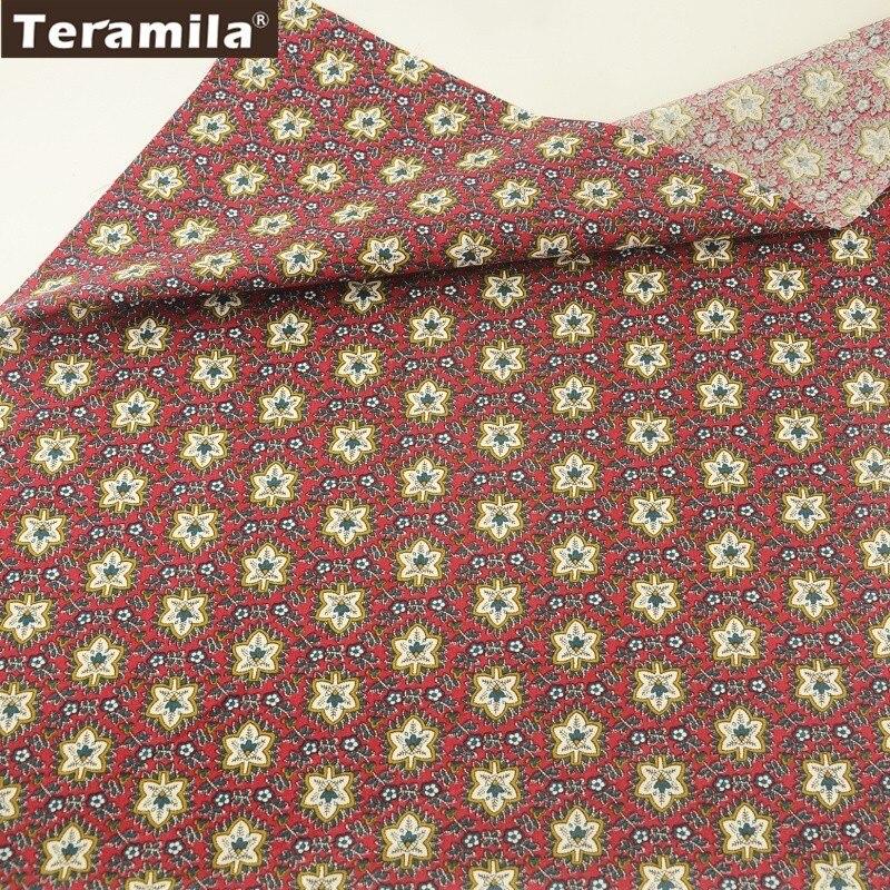 Teramila Baumwoll-popeline Gewebe Weich Rot Gedruckt Blätter Stil kinder Tuch Kleid Fett Viertel Meter Home Textil Patchwork