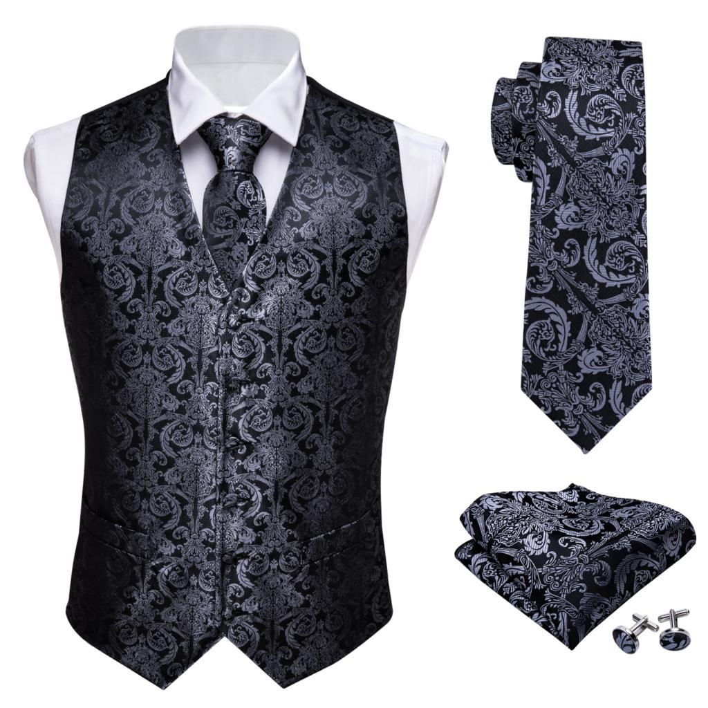 Дизайнерский мужской классический черный Жаккардовый жилет с узором пейсли, жилет, платок, галстук, жилет Карманный платок для костюма, наб...