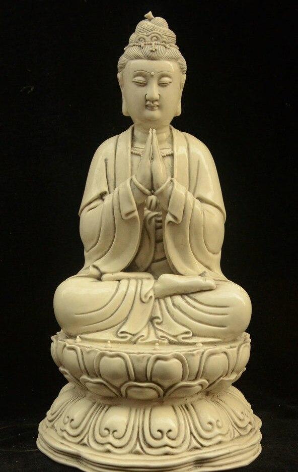 "15"" Chinese Buddhism Porcelain Sit Lotus Avalokitesvara Boddhisattva God Statue"
