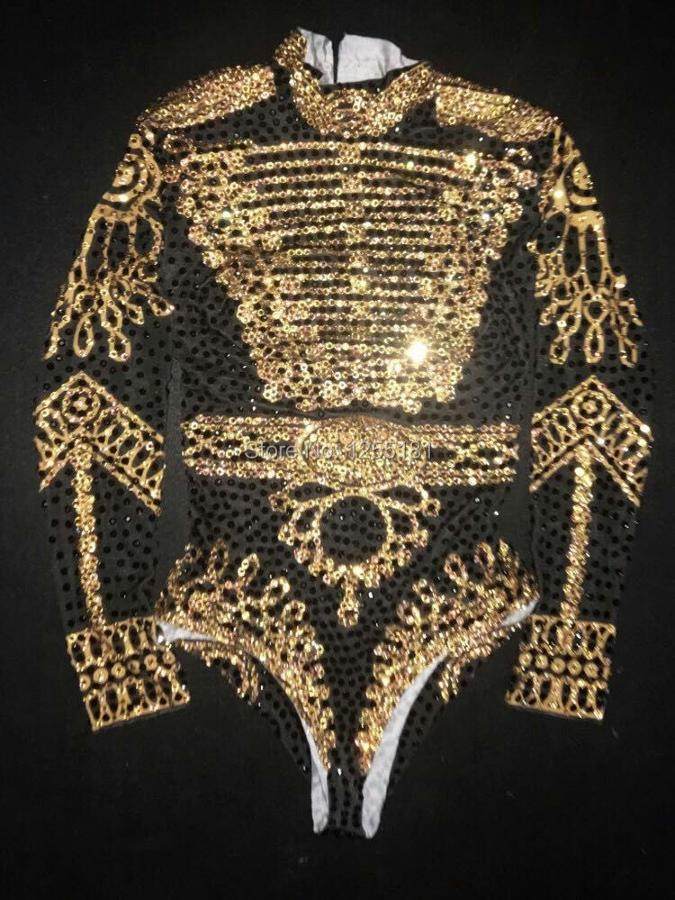 Sexy 2017 beyonc Bodysuit Women's Long Sleeves Rhinestone Outfit Dance Stage Show Nightclub Costume