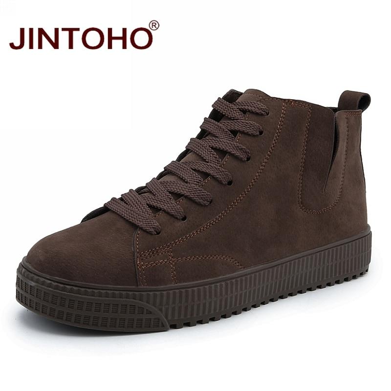JINTOHO, zapatos de invierno para hombre, botas de cuero marrón a la moda para hombre, botas de nieve casuales, botas de invierno baratas para hombre, zapatos de cuero Casuales