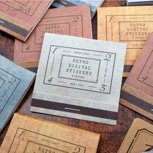 10Pcs/bag retro digital sticker label paper sticker decoration stickers DIY for craft diary scrapbooking planner label sticker