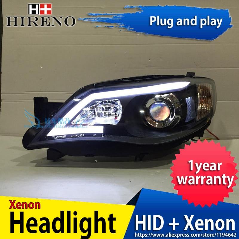 Hireno Headlamp for 2008-14 Subaru Impreza WRX STI Headlight Headlight Assembly LED DRL Angel Lens Double Beam HID Xenon 2pcs