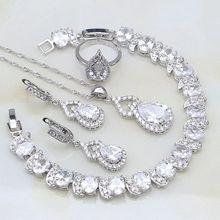 925 Silver Jewelry Gourd White Australian Crystal Jewelry Sets For Women Engagement Open Ring/Bracelet/Necklace/Pendant/Earrings