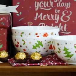 1152 ml caixa de presente feliz natal cerâmica 6 polegada bowls em vidros de alta qualidade além de 45% osso China sopa de macarrão recipiente de alimento