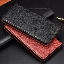 Support à rabat Litchi étui en cuir véritable pour Lenovo K10 K8 K6 K5 K5s Play S5 Pro Plus Note GT K520 housse de téléphone portable
