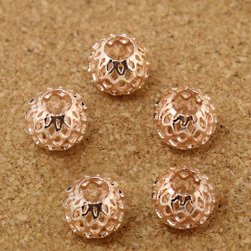 Caliente 6 uds 9*10mm oro rosa ovalado forma redonda gran agujero malla cuentas separadoras de metal para brazalete europeo DIY collar joyería