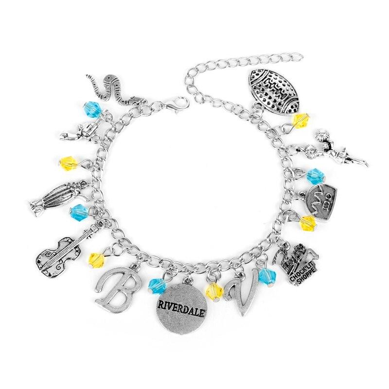 MQCHUN Riverdale TV serie Pop's Chock'lit Shoppe Logo Charm Bracelet guitarra Metal colgante pulseras brazaletes para hombres mujeres regalos