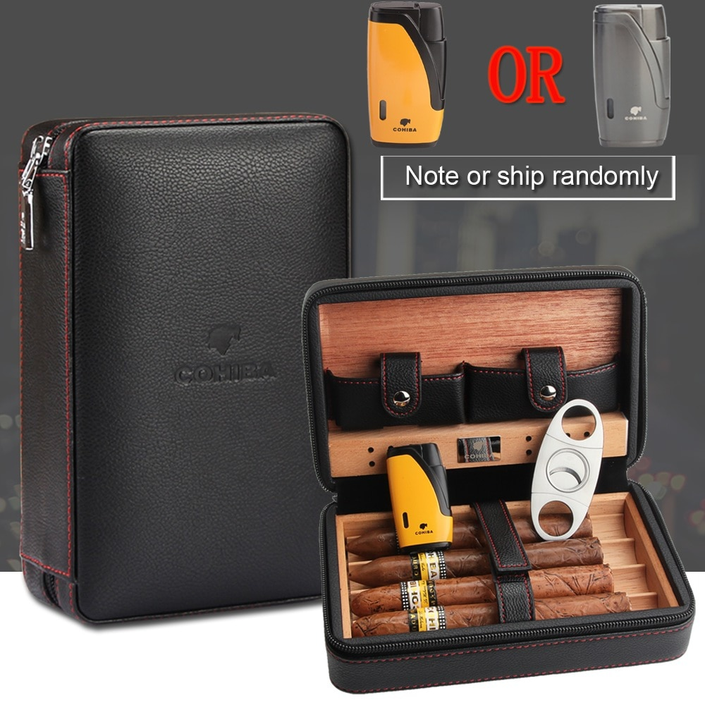 COHIBA Cedar Wood Cigar Humidor Travel Portable Leather Cigar Case Cigars Box With Lighter Cutter Hu