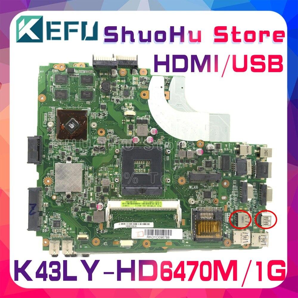 لوحة رئيسية من KEFU لـ ASUS K43LY K84LY K84HR X84HR K43L X44H X84H تم اختبارها 100% لوحة رئيسية أصلية للعمل