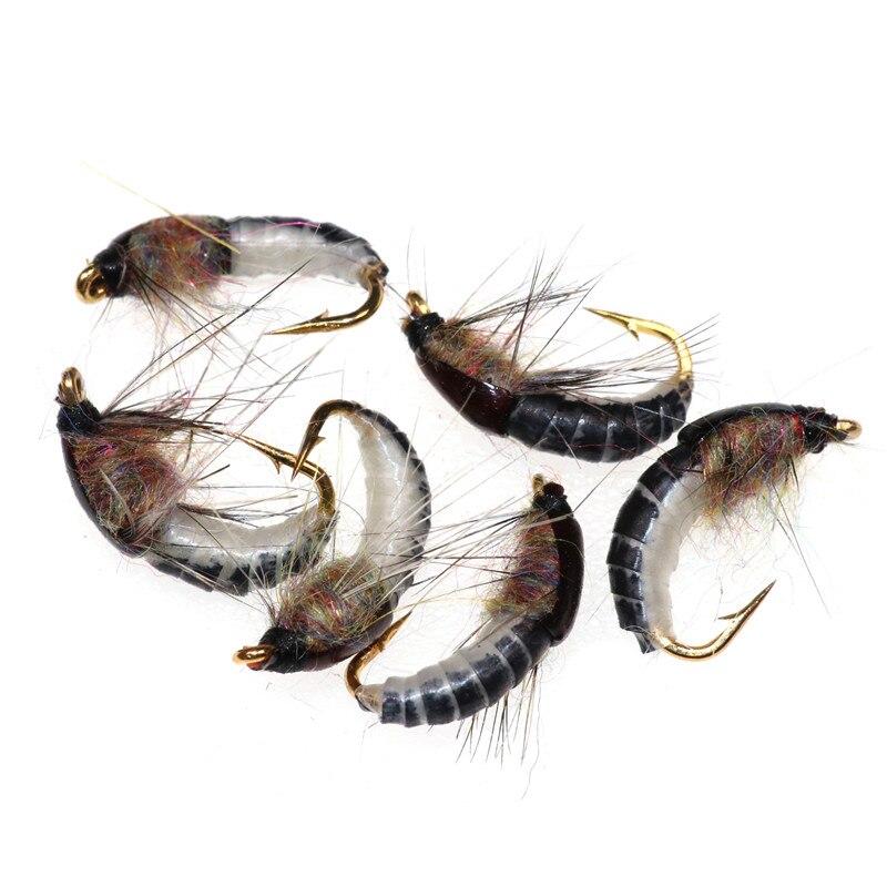 2019 caliente 6 unids/set #12 realista Ninfa Scud mosca para trucha pesca Artificial cebo para insectos señuelo simulado Scud señuelo de gusano para pesca