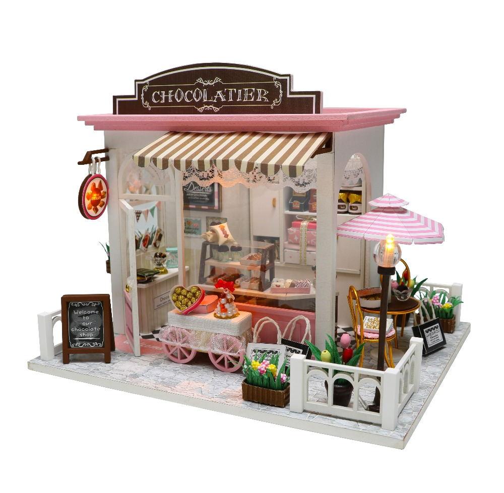 DIY кукольный домик Миниатюрный Кукольный домик с деревянная мебель для дома миниатюрные игрушки для детей Новогодний Рождественский подар...
