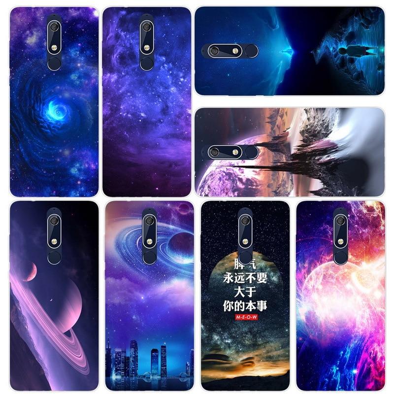 For Nokia 1 2 2.1 3 3.1 4.2 5 5.1 6 6.1 7 7.1 plus 2018 X5 X6 Phone Case Carton Starry Sky Moon Painted Soft Cover Fundas Capa