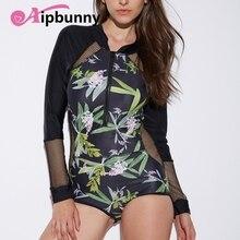 Mesh Front Zipper Bademode High Neck Long Sleeves Push-Up Konservativ Blume Gedruckt Frauen Rash Guards Bikini Bade Badeanzug