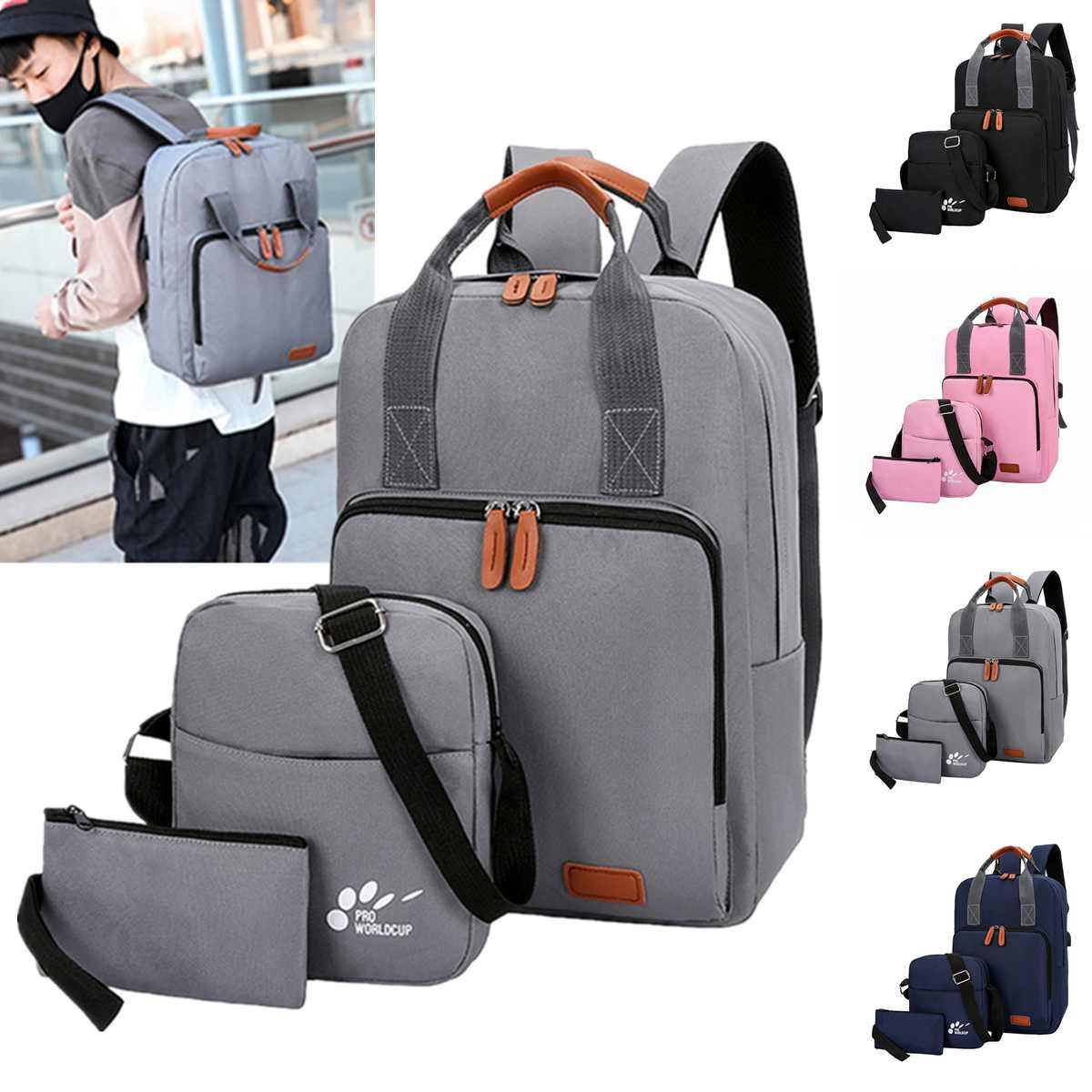 3 шт./компл. USB зарядка рюкзак Оксфорд школьный рюкзак для подростка Модная студенческая сумка на плечо сумка для ноутбука Повседневная дорожная сумка